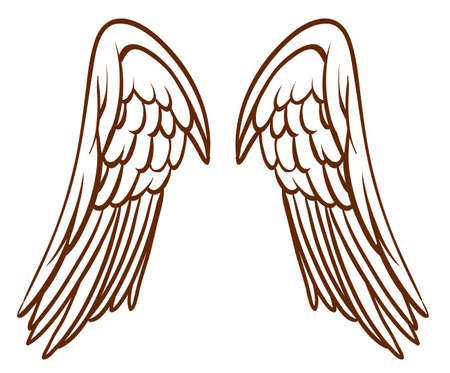 Illustration of a simple sketch of an angels wings on a white background