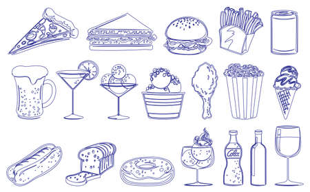 frozen meat: Illustration of the drinks and edible foods on a white background