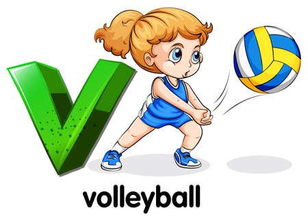 예행 연습: Illustration a of letter V for volleyball on a white background
