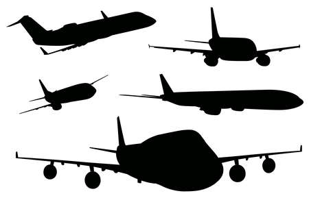 Illustration of the airplanes in black color on a white background
