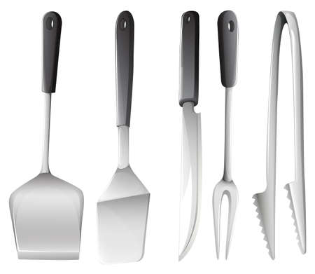 hardened: Illustration of the different cooking utensils on a white background  Illustration