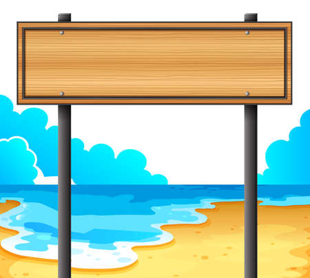 signboard: Illustration of an empty wooden signboard at the beach on a white background  Illustration