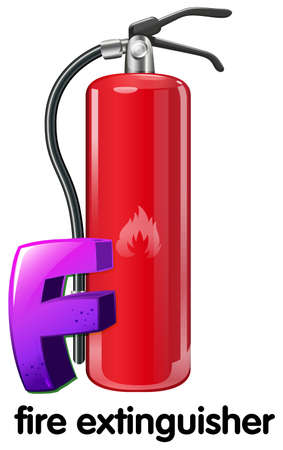 handheld device: Illustration of a letter F for fire extinguisher on a white background