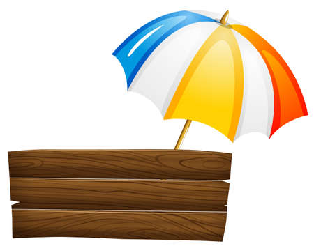 gamp: Illustration of an empty signboard and an umbrella on a white background  Illustration