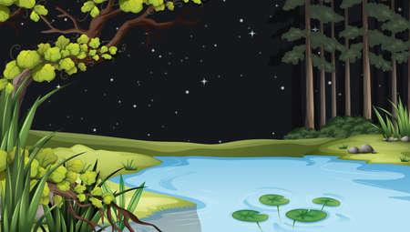 interactions: Illustratie van een waterform in het bos