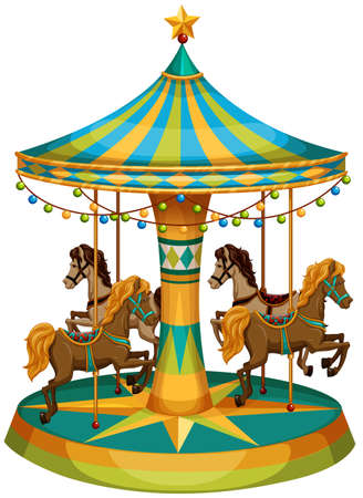 carousel: Illustration of a merry-go-round ride on a white background