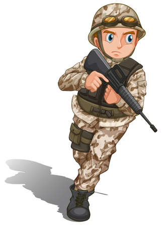 Illustration of a brave soldier with a gun on a white background