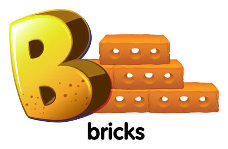 brick earth: Illustration of a letter B for bricks on a white background