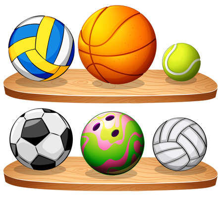 Illustration of the shelves with balls on a white background