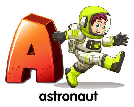 vowel: Illustration of a letter A for astronaut on a white background