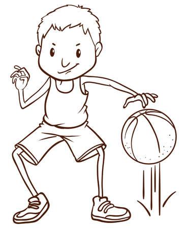 예행 연습: Illustration of a simple sketch of a basketball player on a white background