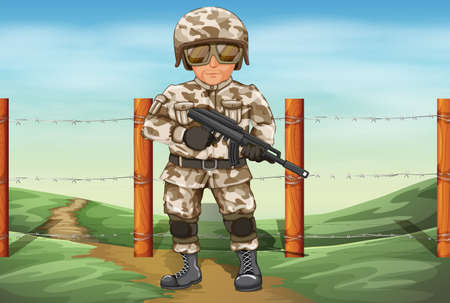 army men: Illustration of a soldier holding a gun Illustration