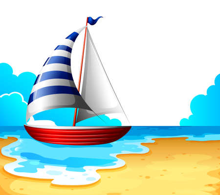 wavelengths: Illustration of a boat at the beach on a white background  Illustration