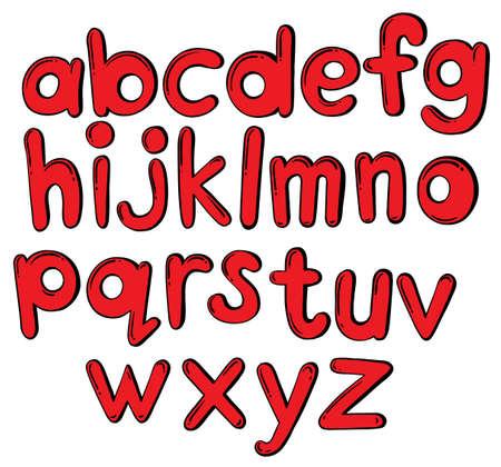 Ilustración de las letras del alfabeto en color rojo sobre un fondo blanco