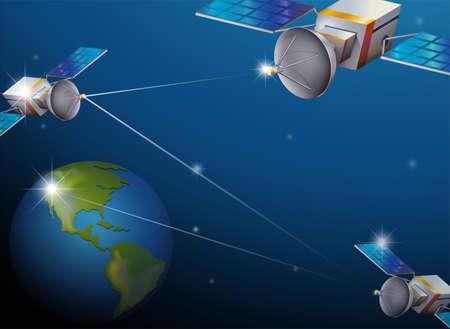 milkyway: Illustratie van de planeet Aarde en satellieten