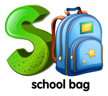 capitalized: Illustration of a letter S for school bag on a white background