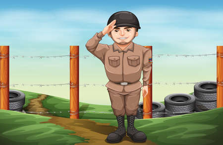 Illustration of a smiling soldier doing a hand salute