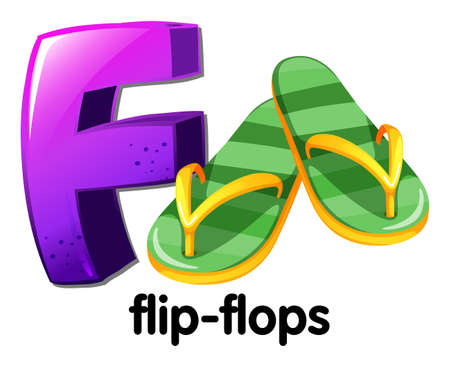 capitalized: Illustration of a letter F for flip-flops on a white background