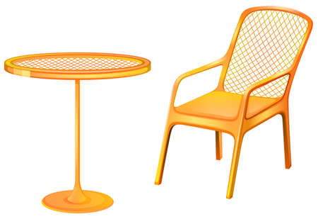 armrests: Illustration of a table and chair furniture on a white background