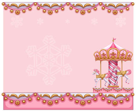 Illustration of a stationery template with a merry-go-round ride on a white background