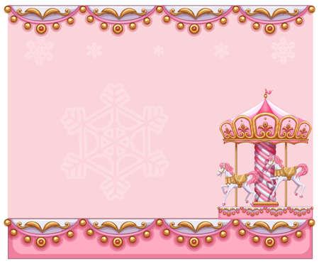fondo de circo: Ilustración de una plantilla de papelería con un paseo merry-go-round sobre un fondo blanco