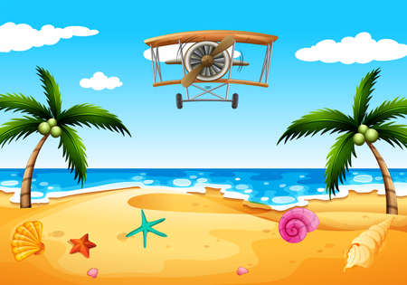 wavelengths: Illustration of a vintage plane at the beach Illustration