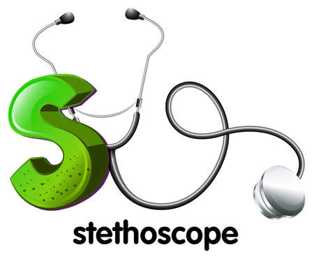 heart sounds: Illustration of a letter S for stethoscope on a white background