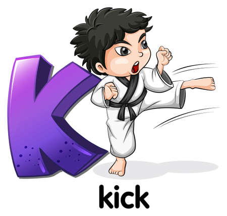 creative arts: Illustration of a letter K for kick on a white background