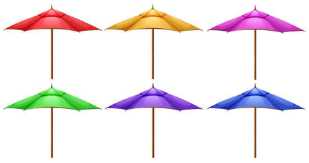 handheld device: Illustration of the beach umbrellas on a white background