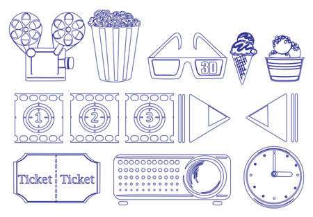 sweetened: Illustration of the doodle design of the things for movie marathon on a white background