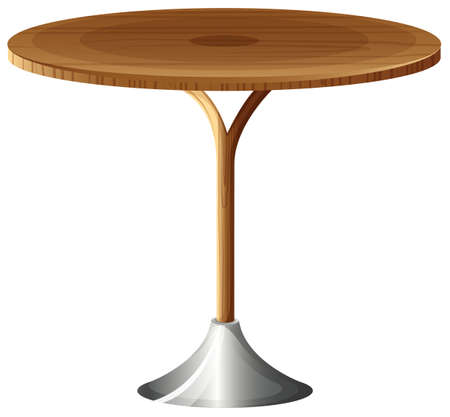 Illustration of a wooden round table on a white background   Illustration