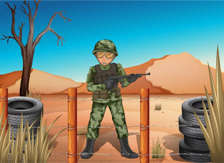 Illustration of a soldier holding a gun Illustration