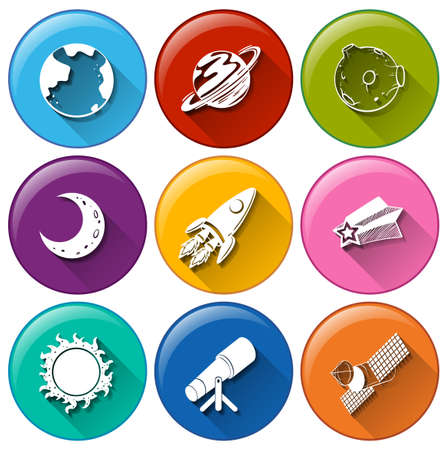 outerspace: Illustration of the round icons with things in the outerspace on a white background