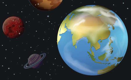 planetarnych: Ilustracja z ciał niebieskich na niebie