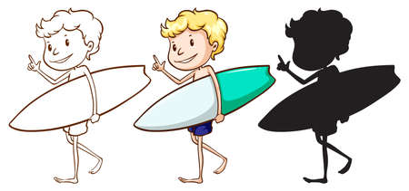 wavelengths: Illustration of the sketches of a boy surfing on a white background