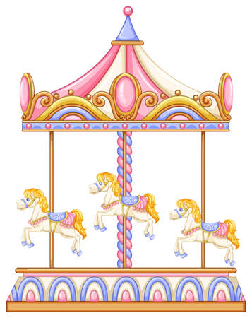 Illustration of a merry-go-round rotating rideon a white background