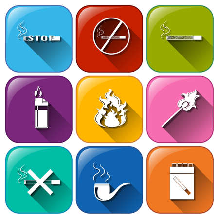 Illustration of the icons with unhealthy vices on a white background   Vector
