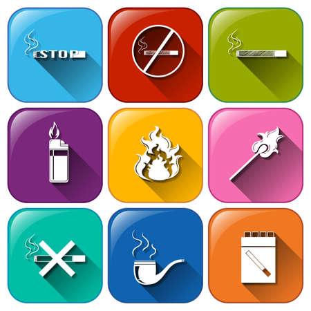 unhealthy: Ilustraci�n de los iconos con vicios no saludables sobre un fondo blanco