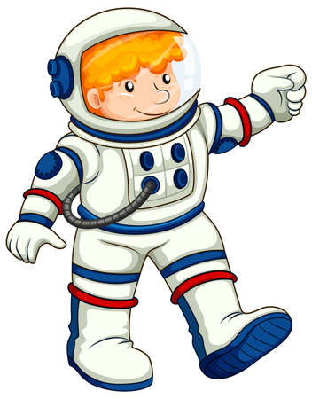 spaceflight: Illustration of an astronaut on a white background