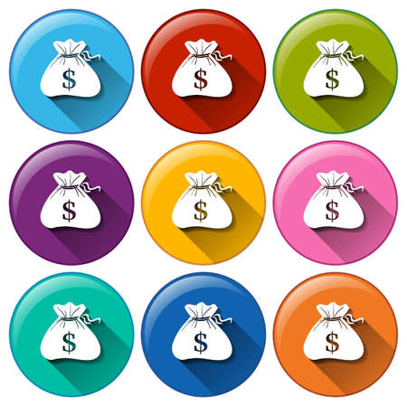Illustration of the round icons with sacks of money on a white background   Vector