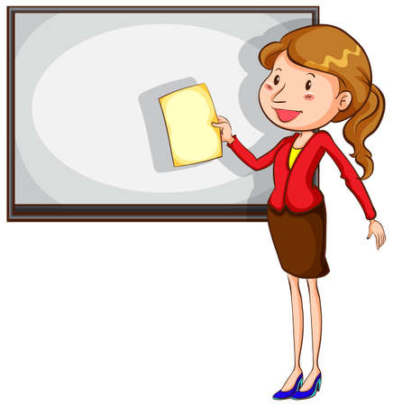 college students on campus: Illustration of a sketch of a simple teacher on a white background