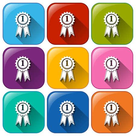 brightest: Illustrazione delle icone con i nastri su uno sfondo bianco