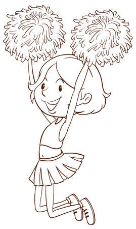 simple girl: Illustration of a simple sketch of a girl cheerdancing on a white background