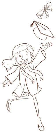 simple girl: Illustration of a simple sketch of a girl graduating on a white background