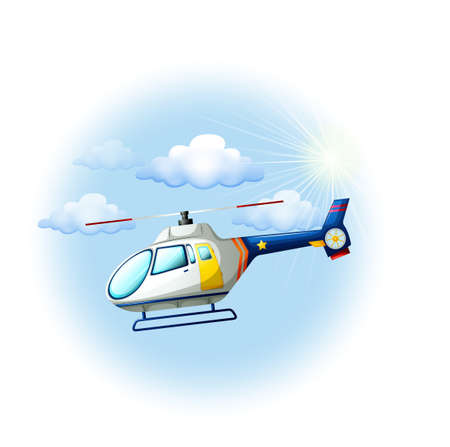land transportation: Illustration of a helicopter in the sky on a white background