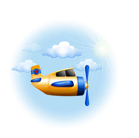jetplane: Illustration of a yellow vintage plane in the sky on a white background   Illustration