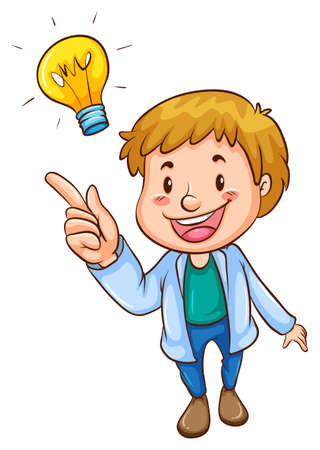 smart man: Illustration of a simple coloured sketch of a smart man on a white background