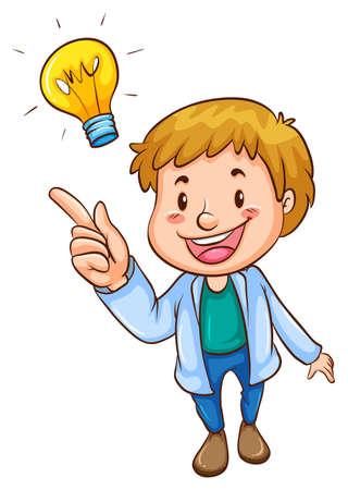 niños pensando: Ilustración de un simple boceto coloreado de un hombre inteligente sobre un fondo blanco