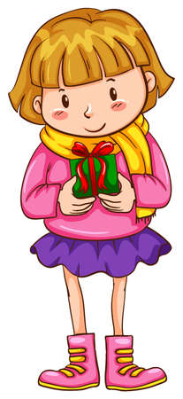 Illustration of a simple sketch of a girl with a christmas gift on a white background   Vector