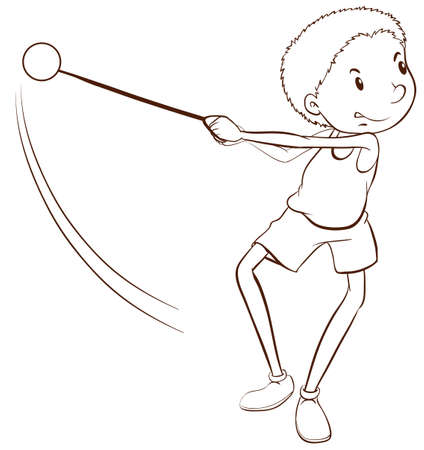 contingent: Illustration of a simple sketch of a sporty man on a white background   Illustration